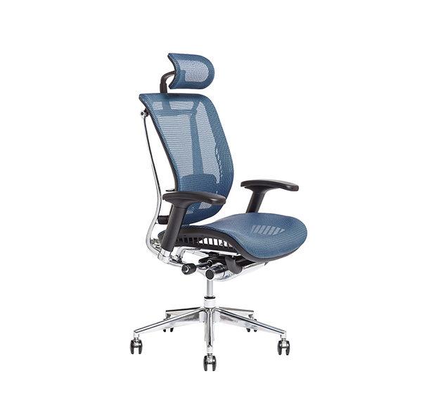 Kancelářská židle s podhlavníkem, IW-04, modrá - LACERTA