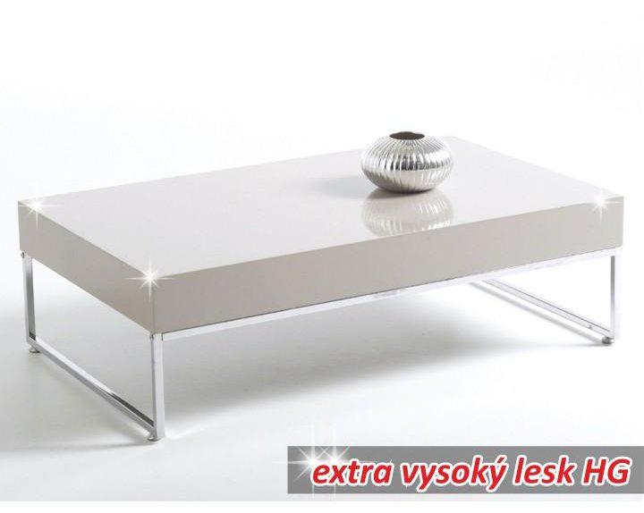 Konferenční stolek, chrom/bílá extra vysoký lesk HG, LOTTI