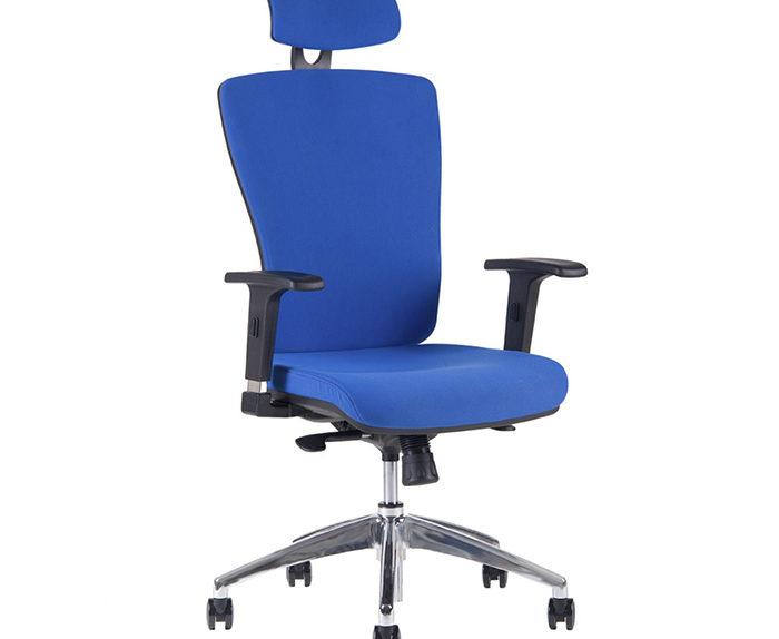 Kancelářská židle s podhlavníkem modrá - HALIA CHR SP